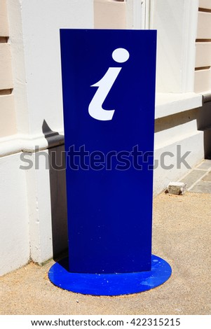 A blue UK tourist information sign displayed on a stand - stock photo