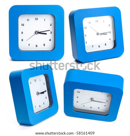 A blue wall clocks from various angles. - stock photo