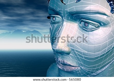 A blue wireframe girl - stock photo