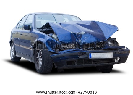 A blue wrecked car isolated on white