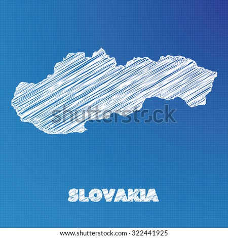 A Blueprint map of the country of Slovakia