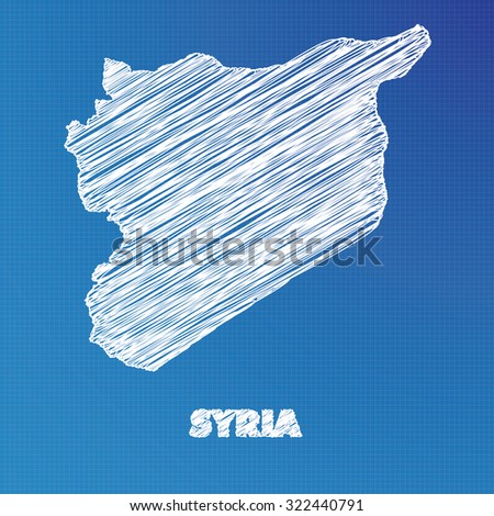 A Blueprint map of the country of Syria - stock photo