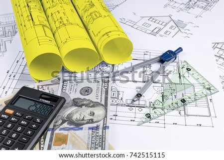 Asset blueprint stock images royalty free images vectors a blueprint of an architect with money calculator symbolic photo for financing and planning malvernweather Choice Image