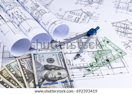 Asset blueprint stock images royalty free images vectors a blueprint of an architect with money symbolic photo for financing and planning of a malvernweather Choice Image