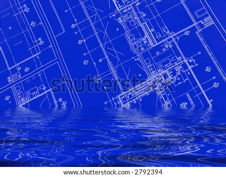 A blueprint on water - background