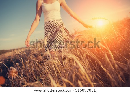 A blurred girl running through the wheat field at sunset (intentional sun glare, lens focus on wheat spikes) - stock photo