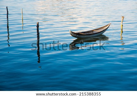 A boat in a beautiful lagoon in Ninh Thuan province, Vietnam