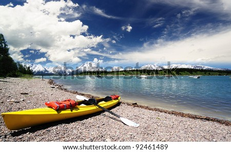 A Boat in  Jackson lake - stock photo