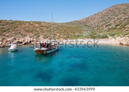 A boat in the Aegean Sea. Bodrum, Mugla, Turkey - stock photo