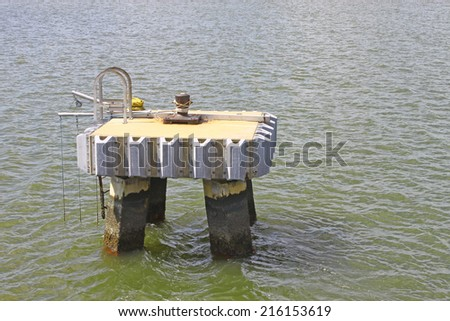 A boat mooring out in the York river in Yorktown Virginia for tying up your boat if the need arises and there is nowhere nearby - stock photo