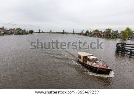 A boat moving in Zaan river