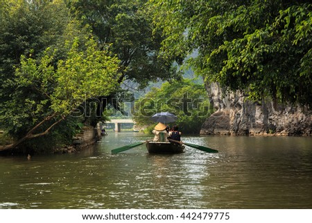 A boat trip at Hoa Lu Tam Coc National park, Vietname
