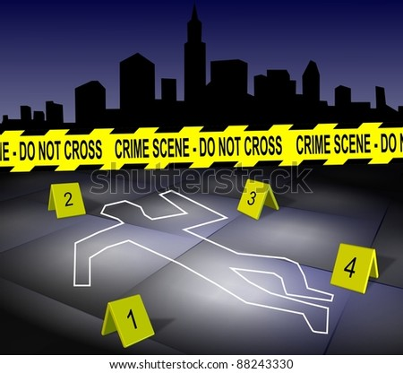 A body outline drawn on a footpath by chalk with a city in the background / Crime scene in a city