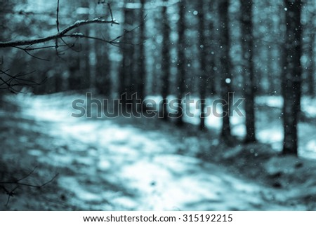 A bokeh abstract background of intentionally out of focus, or defocused falling snow against a winter forest. - stock photo