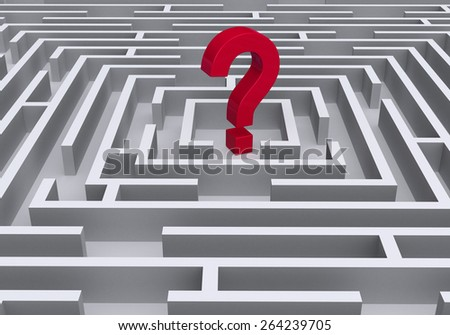 A bold, red question symbol stands at the center of a light gray maze. - stock photo