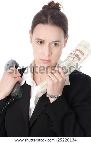 A bond trader having a bad day and looking depressed - stock photo