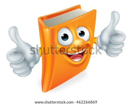 A book cartoon character education mascot giving a double thumbs up