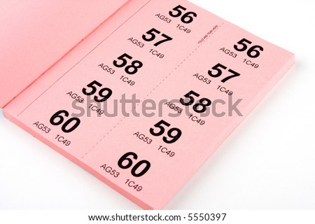 A book of raffle tickets against white background