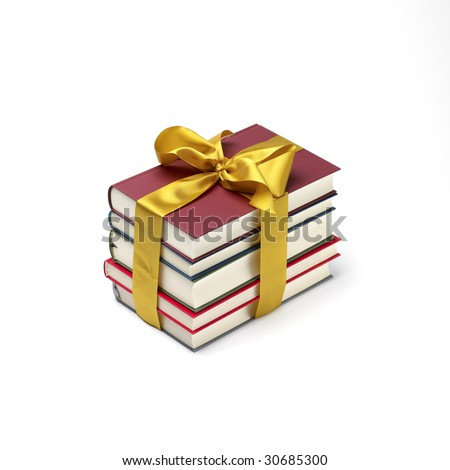 a book stack gift isolated on a white background. - stock photo