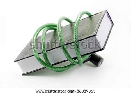 a book surrounded by a padlocked cable