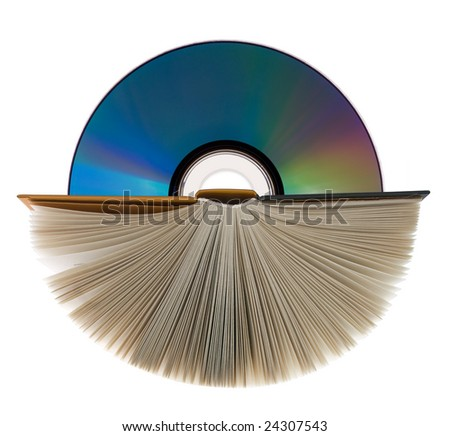 A book with open pages and compact disk on white. - stock photo