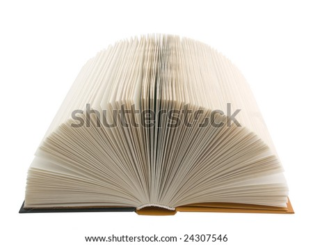 A book with open pages on white.
