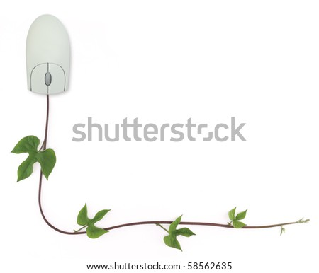 A border formed by a computer mouse with a vine as its cord representing convergence of digital and green technologies to online gardening forums. Image is isolated on white with clipping path. - stock photo