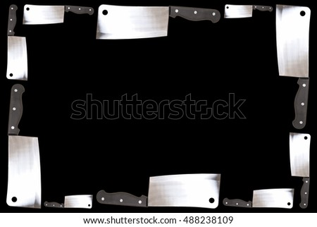 A border made from several butcher knifes over a black background - good for placemats - restaurants - and many other design projects.