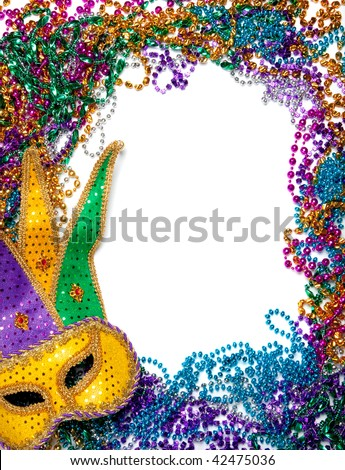 A border made of a gold, purple and green mardi gras mask and blue, green, red, gold and purple plastic beads