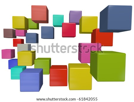 A border of many colorful abstract data cube boxes with copy-space in the center.