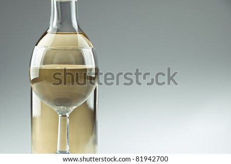 A bottle and a glass of white wine - stock photo