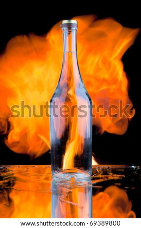 A bottle  and  fireplace - stock photo
