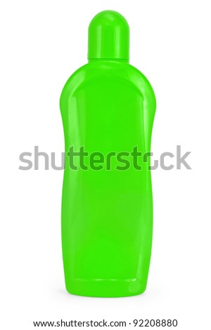 A bottle green with a cleansing and softening liquid isolated on white background - stock photo