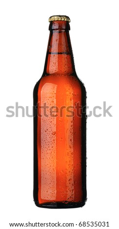 A bottle of beer from brown glass, isolated on a white background. - stock photo