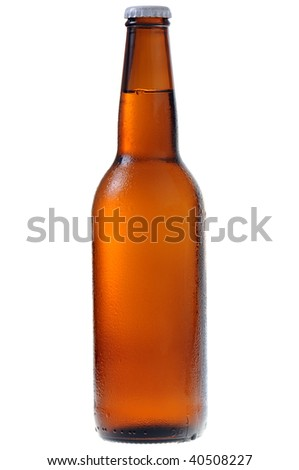 A bottle of beer isolated on white background - stock photo