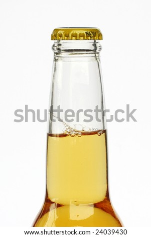A bottle of beer on white background.