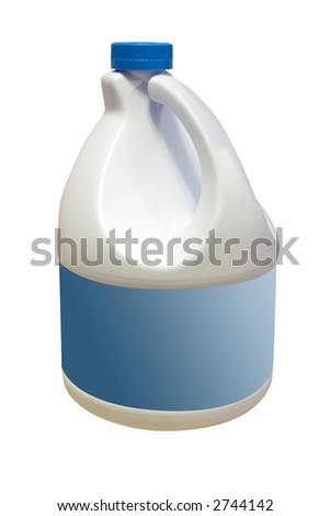a bottle of bleach with a blank label - stock photo