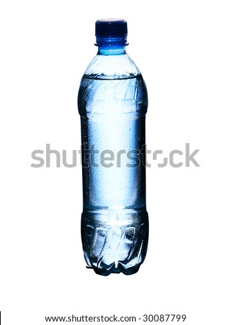 A bottle of crystal clear water. The concept of purity. Isolated on a white background.