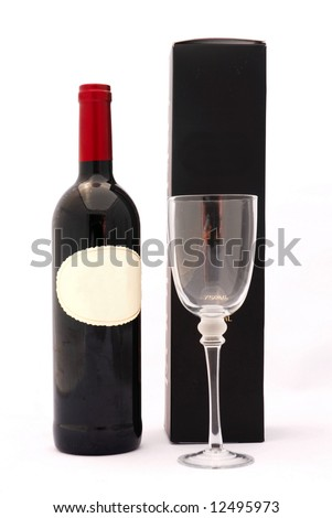 A bottle of delicious South African red wine with glass and black box isolated on white background