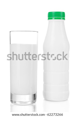 A bottle of kefir with glass isolated on white background - stock photo
