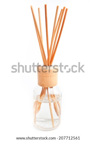 A Bottle of Lavender Fragrant Oil Diffuser with Reed Sticks, isolated on white - stock photo