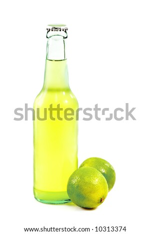 A bottle of lime beer with lime slice on white background