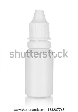 A bottle of nose drops isolated on a white - stock photo