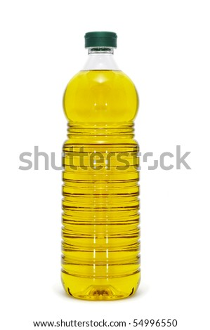 a bottle of olive oil isolated on a white background - stock photo