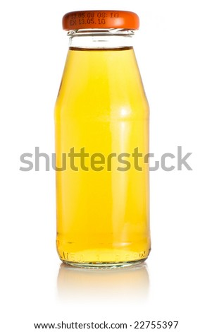 A bottle of orange juice. Isolated on a white background. The bottle is reflected in the background.