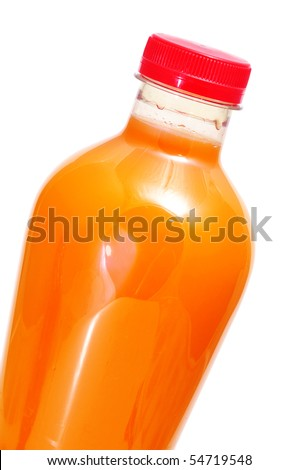 a bottle of orange juice on a white background - stock photo