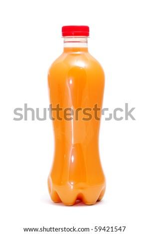 a bottle of orange juice on a white background - stock photo