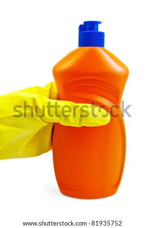 A bottle of orange with a detergent, hand in glove yellow isolated on a white background - stock photo