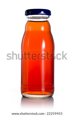 A bottle of plum juice. Isolated on a white background. The bottle is reflected in the background.