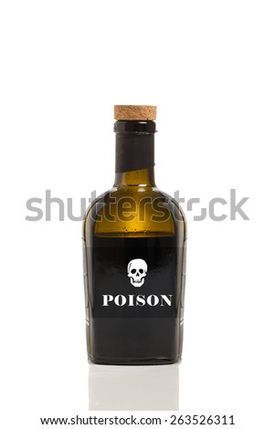 A Bottle of Poison Isolated on a White Background.  - stock photo